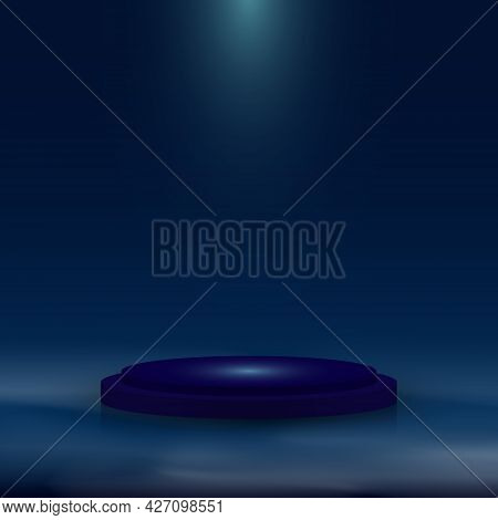 3d Realistic Blue Pedestal With Lighting And Mist On Dark Blue Background. Stage Floor For Winner Aw