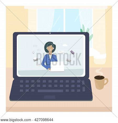 Online, A Virtual Assistant In An Application On A Computer, Laptop At Home. The Concept Of Remote C
