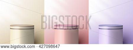 Set Of 3d Realistic Brown Beige, Pink, Purple Pedestal Backdrop For Product Display. Cylinder Podium