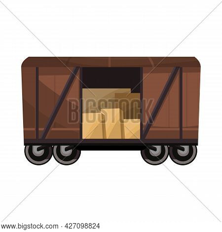 Isolated Object Of Wagon And Cargo Logo. Graphic Of Wagon And Boxcar Stock Vector Illustration.