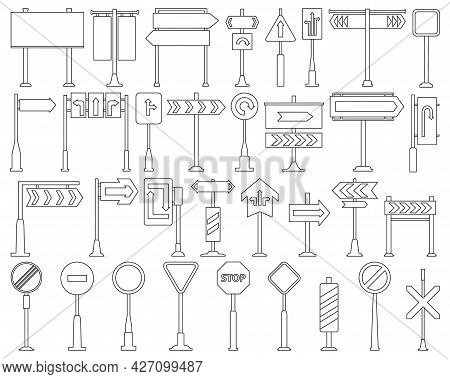 Road Sign Isolated Outline Set Icon.vector Illustration Street Arrow On White Background .vector Out