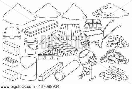Construction Material Isolated Outline Set Icon. Outline Vector Set Icon Building Tools. Vector Illu
