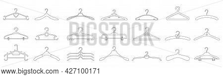 Hanger Isolated Outline Set Icon. Outline Vector Set Icon Cloth Equipment. Vector Illustration Hange