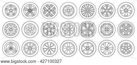 Car Wheels Isolated Outline Set Icon. Vector Illustration Vehicle Tire On White Background.outline V
