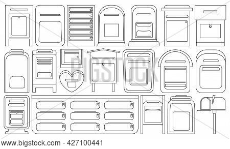 Mailbox Vector Outline Set Icon. Letterbox Isolated Outline Set Icon. Vector Illustration Mailbox On