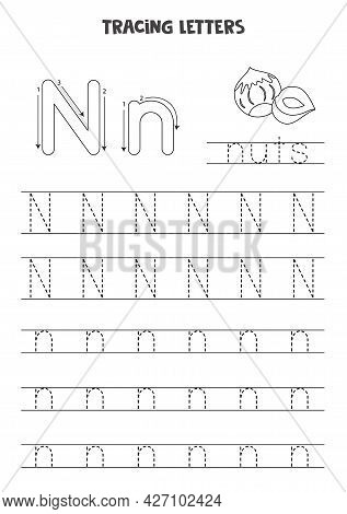 Trace Letters Of English Alphabet. Uppercase And Lowercase N. Handwriting Practice For Preschool Kid