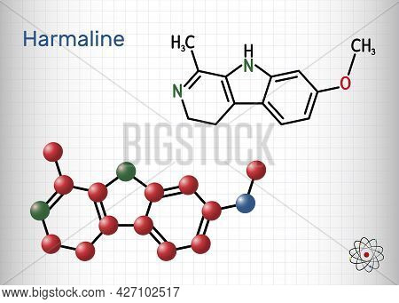 Harmaline Molecule. It Is Fluorescent Indole Alkaloid. Structural Chemical Formula And Molecule Mode
