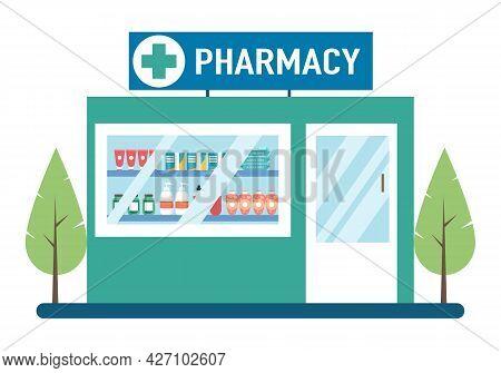 Pharmacy Facade, Drugstore Exterior, Modern Medicine Store Building In Flat Design On White Backgrou