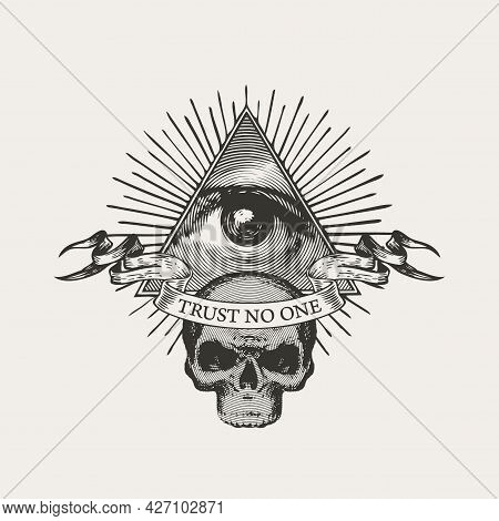 Vector Banner With Masonic Symbol All-seeing Eye Of God And A Sinister Human Skull. Black-white Illu