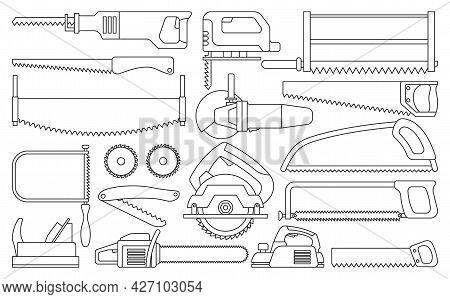 Saw Of Blade Vector Outline Set Icon. Vector Illustration Carpentry Tool On White Background .isolat