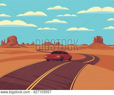Vector Landscape With A Highway And A Single Passing Car In The Desert With Rocks And Clouds In The