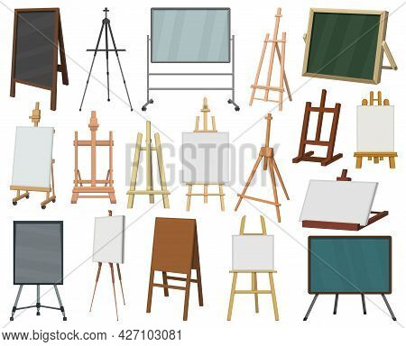 Easel Vector Cartoon Icon Set . Collection Vector Illustration Easel On White Background. Isolated C