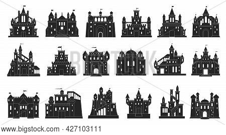 Medieval Castle Vector Black Set Icon. Isolated Black Set Icon Knight Fortress. Vector Illustration