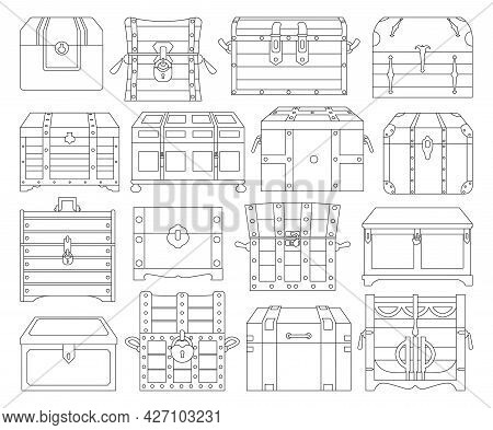 Chest Box Isolated Outline Set Icon. Vector Outline Set Icon Coffer. Vector Illustration Chest Box O