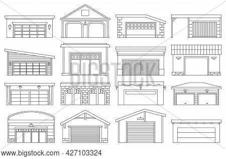 Garage Isolated Outline Set Icon. Vector Outline Set Icon Car House. Vector Illustration Garage On W