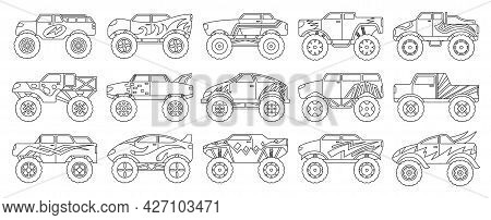 Monster Truck Isolated Outline Set Icon. Vector Outline Set Icon Car. Vector Illustration Monster Tr