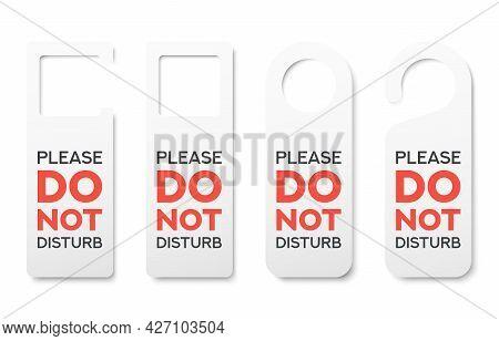 Set Of Different Realistic Private Door Tag. Plastic Paper Door Handle Lock Hangers. Do Not Disturb.