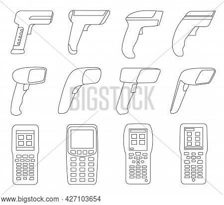 Scanner Vector Outline Set Icon. Isolated Outline Set Icon Barcod Code. Vector Illustration Scanner