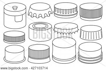 Bottle Caps Isolated Outline Set Icon. Outline Set Icon Lid Of Cover . Vector Illustration Bottle Ca