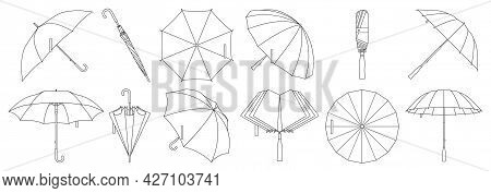 Umbrella Isolated Outline Set Icon. Vector Outline Set Icon Rainy Cover . Vector Illustration Umbrel
