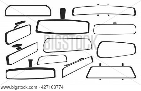 Rear View Mirrors Isolated Black Set Icon. Vector Black Set Icon Rearview . Vector Illustration Rear