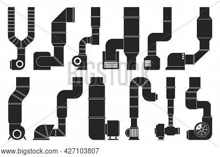 Ventilation Pipe Black Vector Set Icon. Isolated Black Set Icon Ventilation Pipe. Vector Illustratio