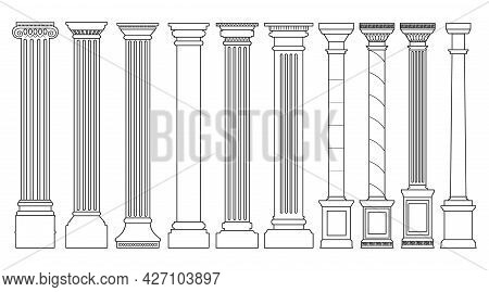 Antique Column Outline Set Icon. Isolated Vector Outline Set Icon Classic Pillar. Vector Illustratio