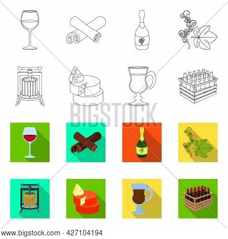 Isolated Object Of Farm And Vineyard Sign. Set Of Farm And Product Stock Symbol For Web.