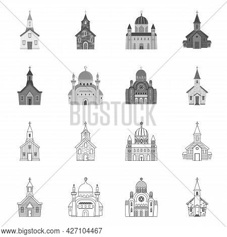 Vector Illustration Of Cult And Temple Sign. Set Of Cult And Parish Stock Symbol For Web.