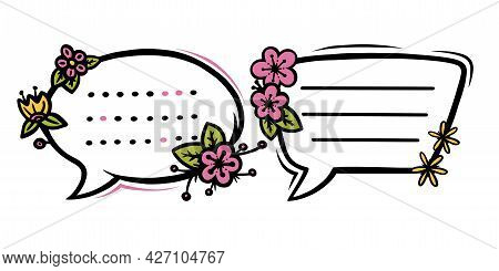 Floral Speech Bubbles Or Labels For Scrapbooks Decoration. Frames With Flowers For Text Or Message.