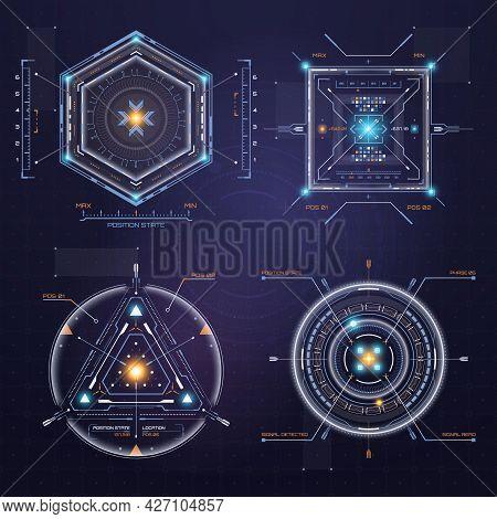 Colour Hud User Interface. Techno Target Screen Elements. Futuristic User Interface. Virtual Graphic