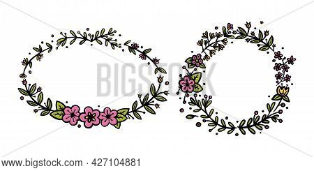 Flower Wreaths For Invitations And Bullet Jourmals Decoration. Circle And Oval Wreath Dividers Or Bo