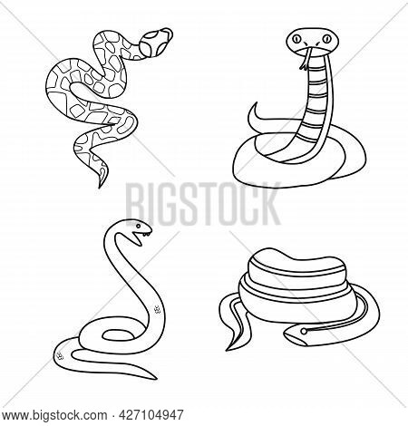 Vector Illustration Of Snake And Creepy Sign. Collection Of Snake And Danger Stock Symbol For Web.