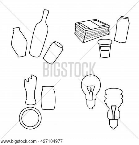 Vector Design Of Waste And Garbage Icon. Set Of Waste And Separation Vector Icon For Stock.