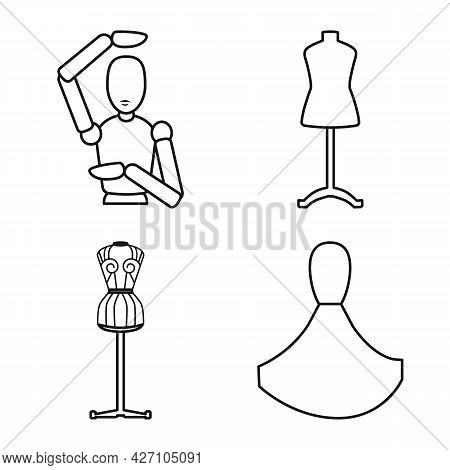 Isolated Object Of Mannequin And Fashion Sign. Collection Of Mannequin And Form Stock Vector Illustr