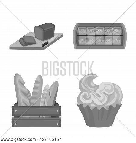 Vector Design Of Bakery And Natural Symbol. Set Of Bakery And Business Stock Vector Illustration.