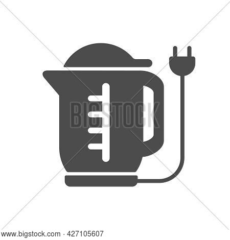 Electric Kettle Silhouette Vector Icon Isolated On White Background. Electric Kettle Icon For Web, M