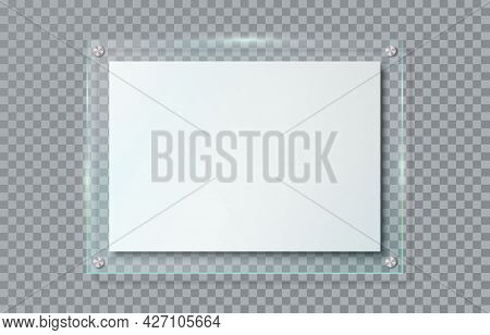 Realistic Blank Poster In Glass Frame Hanging On Wall Isolated On Transparent Background. Clear Hori