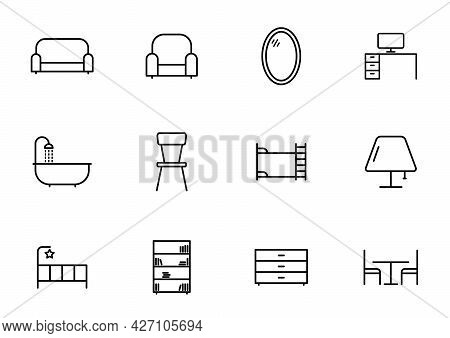 Furniture Line Vector Icons Isolated On White Background. Furniture Icon Set For Web And Ui Design,