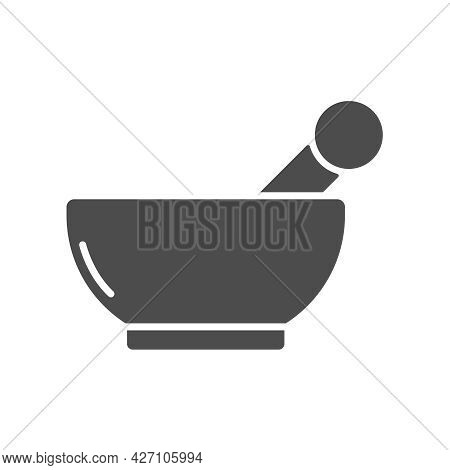 Mortar And Pestle Silhouette Vector Icon Isolated On White Background. Mortar And Pestle Icon For We