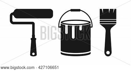 Simple Paint Brushes Icon. Paintbrush Symbol. Brushes And Painting Related Vector Icons
