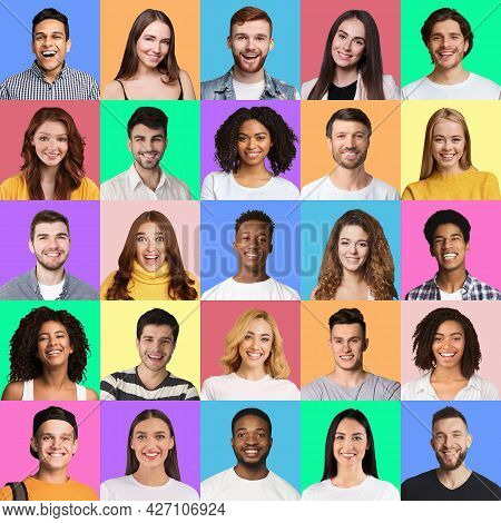 Cheerful Youngsters Posing On Colorful Studio Backgrounds