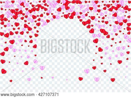 Tender Confetti Background Transparent Vector. Greeting Pattern Heart. Red Folded Frame. Violet Hear