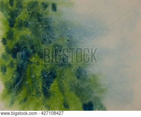 Abstract Pattern Of Watercolor Hand Painting, Drawing In Green And Blue Colors, Concept For Under Wa