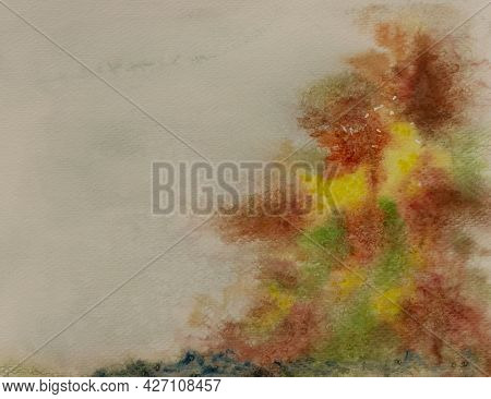 Illustration Of Abstract Autumn Trees, Brown Yellow And Green Color Leaves Watercolor Painting Backg