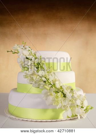 Traditional wedding cake on a color background