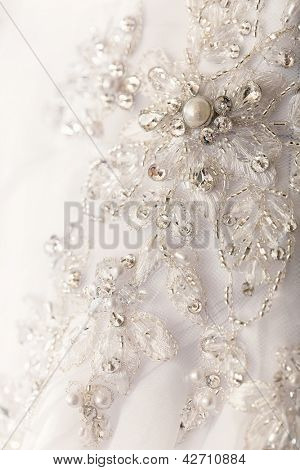 Close up of the wedding dress detail