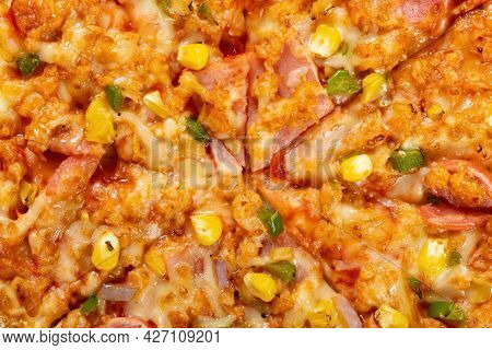 Top View Fresh Chicken And Bacon Pizza