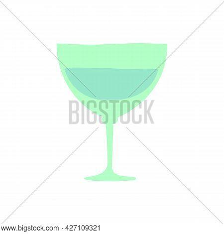 Vermouth Glass. Hand Drawn Cartoon Illustration. Romantic Alcoholic Drink. Doodle Shape Art Graphic