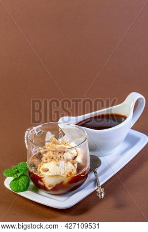 Affogato Coffee. Italian Dessert Of Ice Cream, Espresso And Cookie Crumb Topping Is Served In A Glas